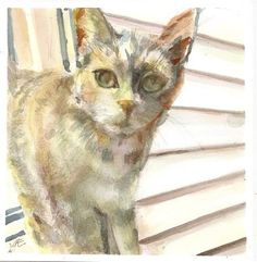 "Daily+Paintworks+-+""Outdoor+Cat""+-+Original+Fine+Art+for+Sale+-+©+jean+krueger"