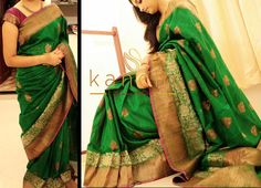 Green banaras mutka silk saree with dull gold zari border.. Kanchi signature collection saree .. https://www.facebook.com/Kanchi-Signature-Collection-353807514697160/timeline/