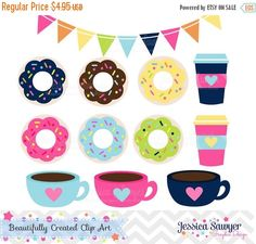 80% OFF - INSTANT DOWNLOAD - Coffee and Donut Clipart and Vectors for personal and commercial use