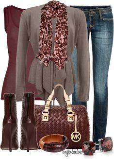 Gray + burgundy + dark wash denim + jeweled/coordinating/leopard accessories = autumn/winter outfit