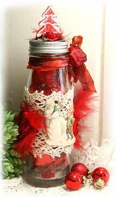 This altered jar will make a fabulous homemade centerpiece for your Christmas table. Mason jar crafts are always so much fun when you give them a Christmas spin. Homemade Centerpieces, Christmas Centerpieces, Christmas Decorations, Christmas Mason Jars, Christmas Love, Christmas Crafts, Jar Of Hearts, Shabby Chic Crafts, Altered Bottles