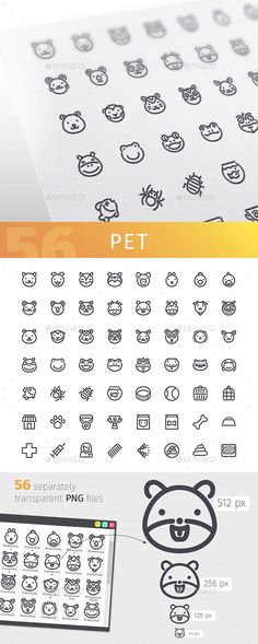 Pet Line Icons Set — Vector EPS #domestic #pet • Available here → https://graphicriver.net/item/pet-line-icons-set/17971840?ref=pxcr
