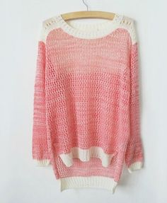 Retro Hollow Out Contrast Color Pullover - Knitwear - Clothing