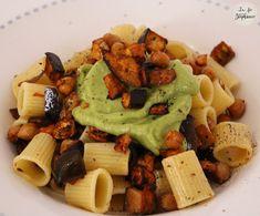 Mamma mia che pasta! Pâtes aux aubergines et aux pois chiches grillés, sauce à l'avocat - La Fée Stéphanie