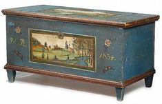 Buy online, view images and see past prices for Painted blanket chest decorated with landscape, possibly ohio, inscribed and dated, Antique Boxes, Antique Decor, Antique Furniture, Geek Furniture, Pallet Furniture, Furniture Ideas, Furniture Design, Outdoor Furniture, Blanket Box