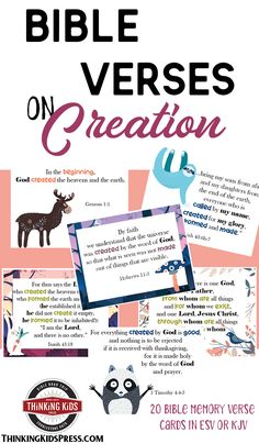 Teach your kids 20 Bible verses on Creation with this super cute memory verse set for your children, all about the Creator! Memory Verses For Kids, Verses For Cards, Bible Crafts For Kids, Kids Bible, Creation Bible, Prayer For Family, Books For Teens, Christian Parenting, Sunday School