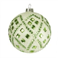 4 good tidings ivory with pastel green gems glass ball christmas ornament green christmas - Pastel Green Christmas Decorations