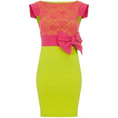 Vestry Hazel Lace Colourblock Pencil Dress (€89) ❤ liked on Polyvore featuring dresses, lime green, yellow pencil dress, yellow bodycon dress, pencil dress, bodycon party dresses and yellow cocktail dress