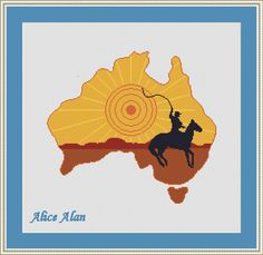 Cross Stitch Pattern Map Australia with silhouette от HallStitch