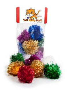Tuff Kitty Puff Sparkle Ball Cat Toy  12 Pak -- Details can be found by clicking on the image.
