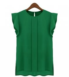 Of COURSE love the color, plus the simple details. Chiffon-y tops are great for work, I think :)