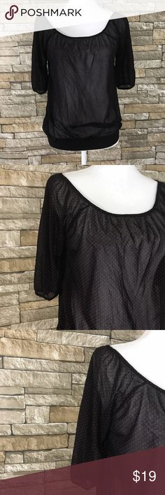 """The Limited Sheer Black Blouse Red Dots Dotted black sheer Blouse by The Limited. Short sleeves with elastic closure. Elasticized hem.  Materials 100% Nylon.   Size  XS  Measurements (laid flat) Armpit to armpit 17.5"""" Waist 17"""" Length 23""""    Condition Excellent condition pre-owned. No flaws noted. The Limited Tops Blouses"""