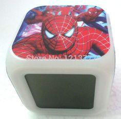4 Pcs Led Spiderman Alarm Clock Movie/Cartoon Style Changing Clock