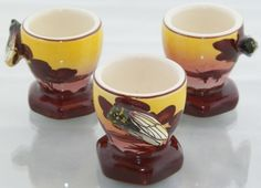 3 Cicada Egg Cups Vallauris France Pottery