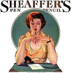 A beautiful Sheaffer's writing utensils ad from 1920s.