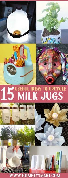 15 Useful Ideas To Upcycle Milk Jugs Make full use of what you buy with your money by upcycling them. This time, we& gonna explore the wonderful ideas you can have with milk jugs! Upcycled Crafts, Recycled Art Projects, Projects For Kids, Diy Crafts, Recycled Materials, Plastic Milk Bottles, Plastic Bottle Crafts, Milk Jugs, Detergent Bottle Crafts