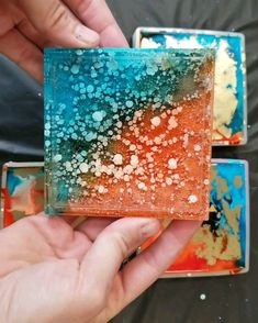 Alcohol Ink & Resin Coaster Set - DIY - Orange & Blue is a challenging palette to get right, but I like how this set turned out! Diy Resin Art, Diy Resin Crafts, Art Diy, Resin Wall Art, Resin Artwork, Alcohol Ink Crafts, Alcohol Ink Painting, Alcohol Ink Art, Creative Crafts