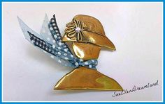 brass lady with hat broochhandmade brooch/ by SueEllenDreamland