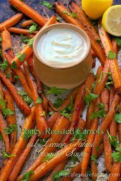 I don't have to convince anybody to eat these wonderful carrots. They taste like candy!  Honey Roasted Carrots w/ Lemon Tahini Yogurt Sauce