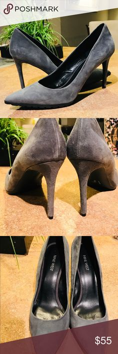 NWOT Nine West suede grey pumps Never worn. No damage. Residue on back from store stickers. About 4 inches tall Nine West Shoes Heels