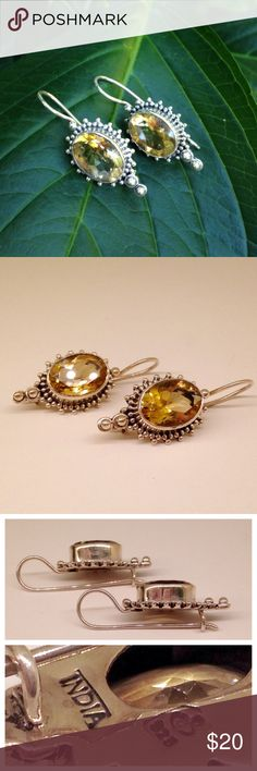 Sterling Silver & Citrine Earring A beautifully ornate earring! Sterling silver, stamped 925--handmade in India. Faceted citrine focal point with open back setting to allow for maximum sparkle! 16mm wide, 38mm long (including earwire). Jewelry Earrings