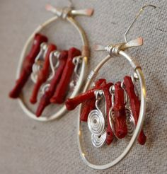 Handmade Branch Coral Slices and  Silver Plate Wirework Earrings | MLRanchJewelry - Jewelry on ArtFire
