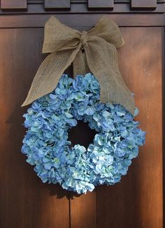 Blue Hydrangea Wreath with Burlap Ribbon