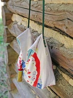 Repurposed Vintage Tablecloth Cross Body Tote