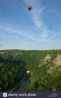 Balloons over Letchworth State Park Genesee River Gorge western New York Wyoming County