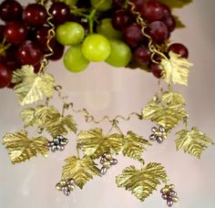 Grape Vines Large Leaf Necklace by Michael Michaud