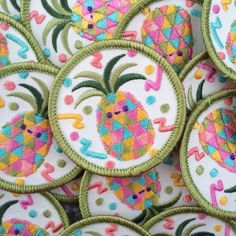 Disco Pineapple Embroidered Rainbow Sew On Patch Girl Gang Patch
