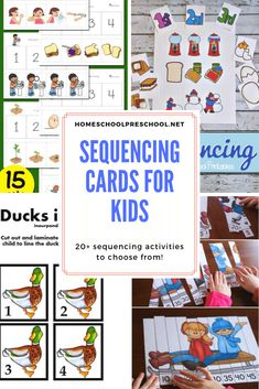 Start building a strong foundation for math and reading by introducing sequencing skills to your preschoolers. These free printable sequencing cards will get you started.#sequencingcards #sequencingactivities #sequencingcardsforkids #homeschoolprek