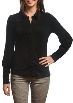 Women's Lovely New Button Down Long Sleeve Stretch Shirt DesignStyle Apparel. $14.97. Fitted cotton shirt.. Elongated tapered cuff with buttons.. Ruffled detail along the cuffs give added texture to the garment.. 95% Rayon/5% Spandex. This lovely women's top can be worn both casually or dressed up.. Stretch Material allows for great comfort and fit!