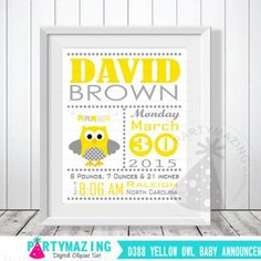 Owl Baby Announcement, Yellow and Gray Nursery, Baby Birth Announcement, Printable Wall Art  D388