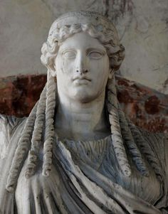 detail in marble of Athena -  Roman statue, copy after Greek original abaout circa 5 century BC, at the Palazzo Ducale, Mantova