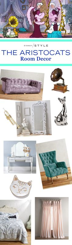 The Aristocats-inspired room decor | Feminine and chic home decor with cat + French details | [ http://di.sn/6001BAo6B ]