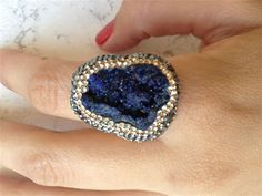 One-of-a-kind Drusy and Pyrite Ring