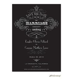 Ornate Black and White Save the Date. Come see for yourself! http://tastebudsontheavenue.com/