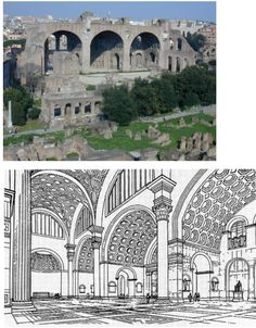 NAME: Basilica of Constantine and Maxentius,  LOCATION: Rome,  DATE: Ancient Rome,  CULTURE: Roman,  FUNCTION: law place,  MATERIALS: concrete and brick,  TECHNIQUES: coffered barrel vaults, groin vaults, fenestration and clerestory for lighting,  NOTABLE: colossal statue of Constantine