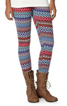 Deb Shops Zig Zag Diamond Tribal Print Legging