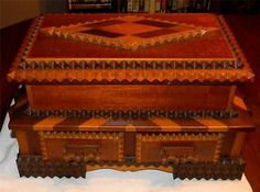 Vintage Tramp Art Jewelry Box Antique Parquetry Inlaid Wooden Folk Art