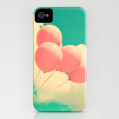 Happy Pink Balloons on retro blue sky  iPhone Case by Andreka - $35.00
