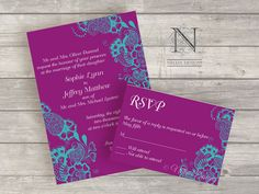 Contemporary Floral Wedding Invitations with RSVPs by nellybean, $3.75