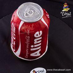 Pastel de lata de Coca Cola – Coke can cake (3D) | thecakeart.com Coca Cola, Coke Cake, Egg Muffin Cups, Beverages, Drinks, Coco, Party Themes, Birthday Cake, Baking