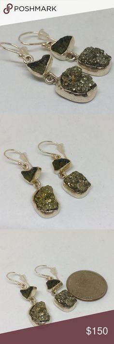 🆕🕉💎💎‼️REAL MOLDAVITE EARRINGS Natural MOLDAVITE Handcrafted Earrings Sterling Silver Setting NWOT handcrafted Jewelry Earrings