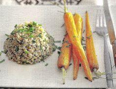 Salade de boulgour et petites carottes rôties.