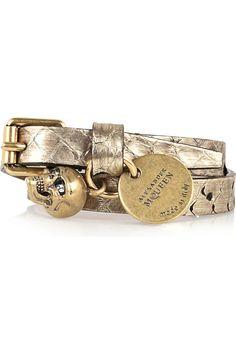 Alexander McQueen Leather skull bracelet – Metallic Gold Stamped ...