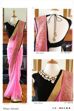 Mitan Ghosh Pink #Saree With Jewel Collar Black #Blouse.