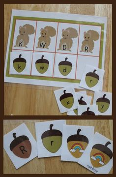 Fall ABC and literacy activities.  Squirrel letter and beginning sound sort for pre-k, preschool, kindergarten, and sped - acorn activities.