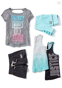 Girls' Activewear – Sport & Gym Clothes BRAND new activewear! Sporty Outfits, Athletic Outfits, Athletic Wear, Tween Fashion, Fashion Outfits, Girls Sports Clothes, Justice Accessories, Justice Clothing, Justice Outfits